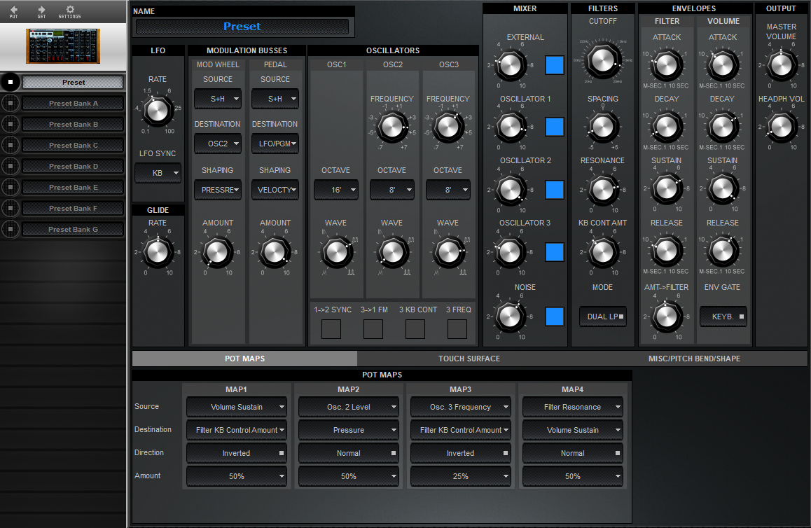 Midi Quest Moog Voyager Editor and Librarian for Windows and