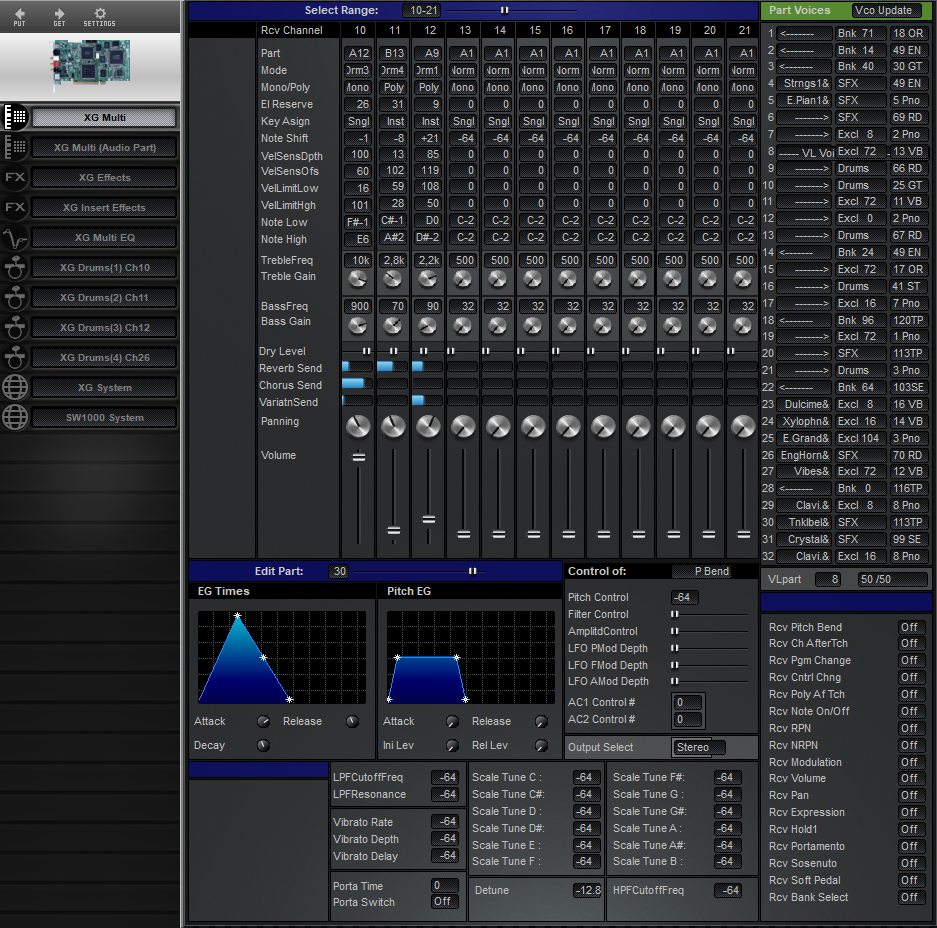 Midi Quest Yamaha SW1000 XG Editor and Librarian for Windows and